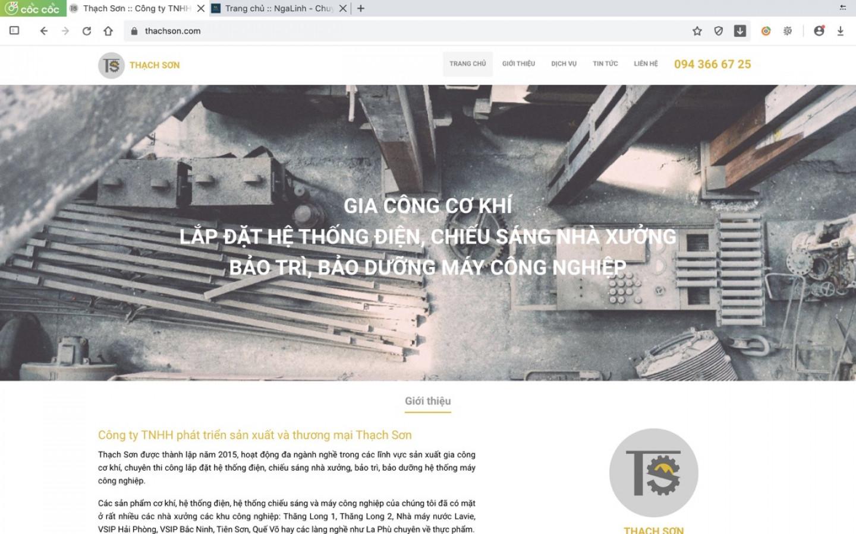 Dự án web Thạch Sơn do Nga Linh tư vấn và thiết kế