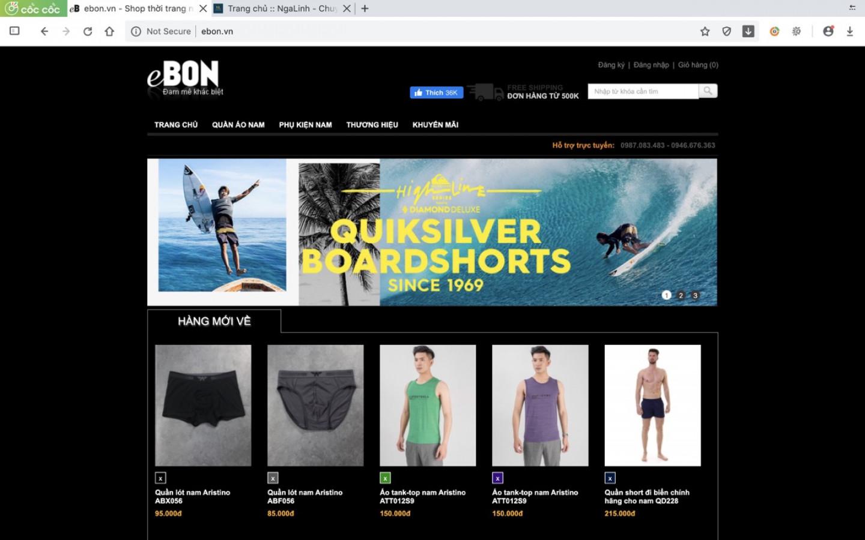 Dự án web Ebon do Nga Linh tư vấn và thiết kế