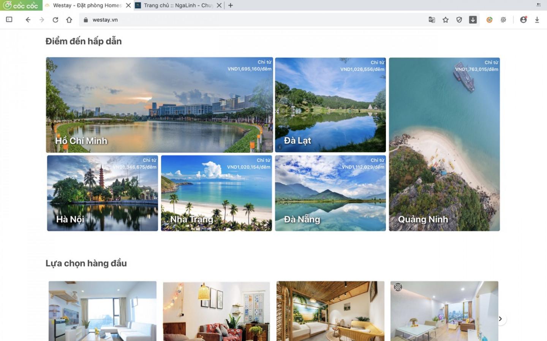 Dự án web Westay do Nga Linh tư vấn và thiết kế