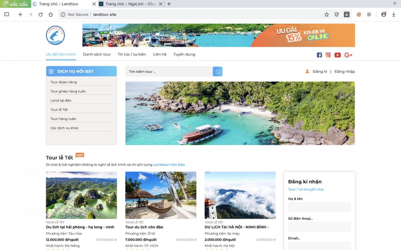 Dự án web Landtour Côn Đảo do Nga Linh tư vấn và thiết kế
