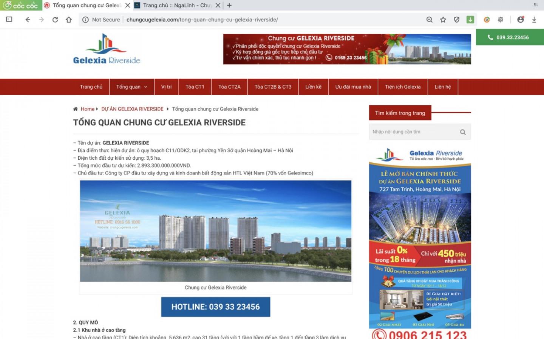 Dự án web Gelexia Riverside do Nga Linh tư vấn và thiết kế